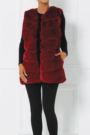 Lauren Faux Fur Gilet in Burgundy