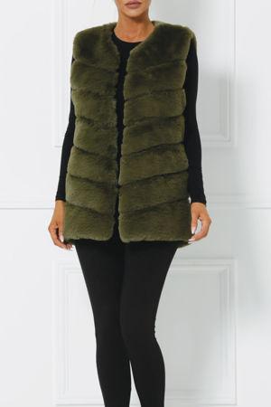 Lauren Faux Fur Gilet in Khaki Green