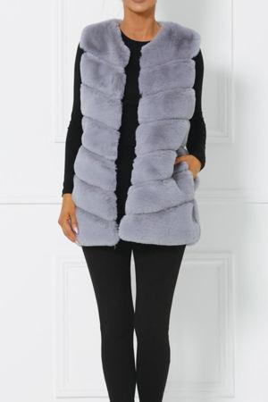 Lauren Faux Fur Gilet in Grey