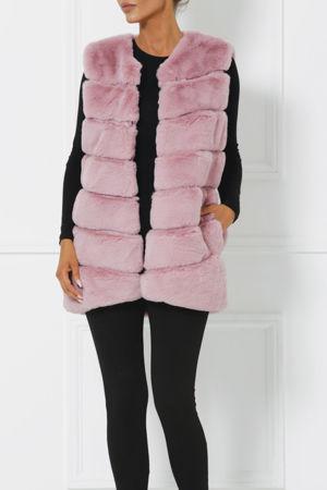 Lauren Faux Fur Gilet in Pink