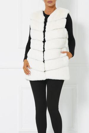 Lauren Faux Fur Gilet in Ivory