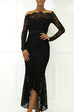 Madina Lace Bardot Fishtail Dress in Black