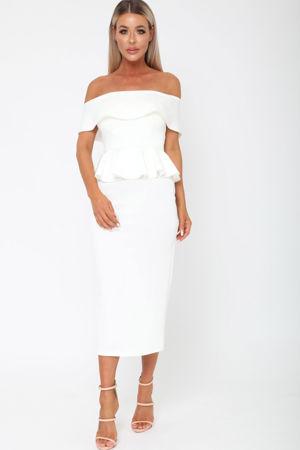 Tamara Peplum Dress in Ivory