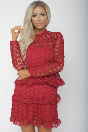 Taylor Long Sleeve Lace Mini Dress in Red