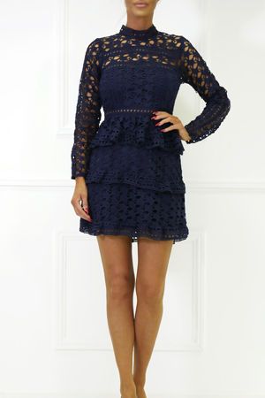 Taylor Long Sleeve Lace Mini Dress in Navy