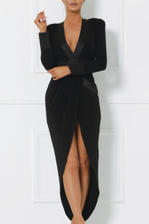Victoria Plunge Midi Dress with Shoulder Pads in Black