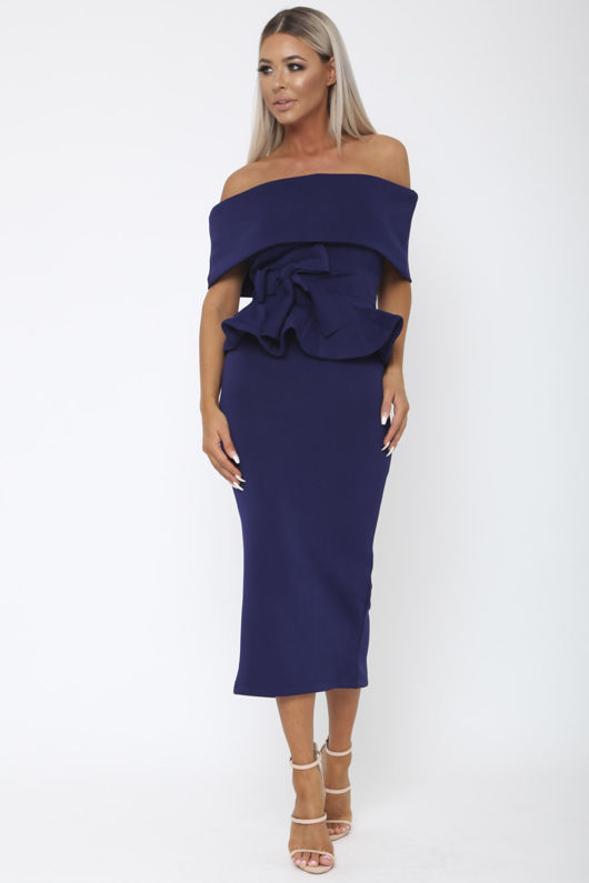 Tammy Bardot Midi Two-Piece in Navy