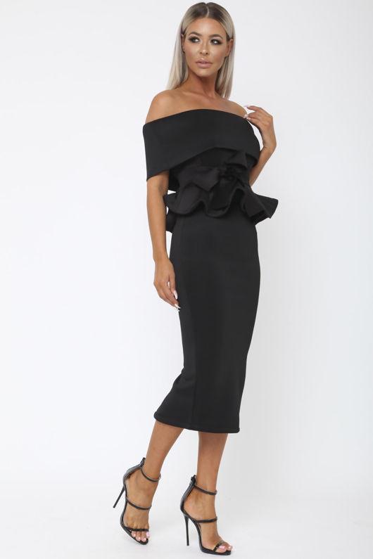 Tammy Bardot Midi Two-Piece in Black