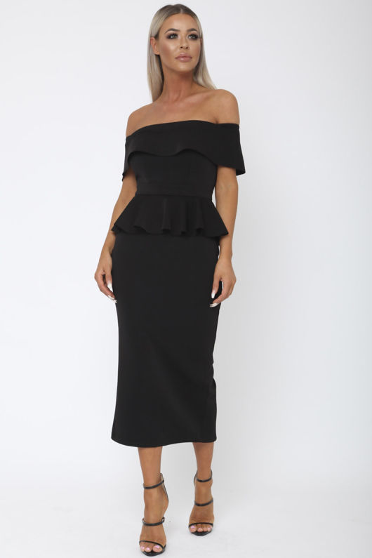 Tamara Peplum Dress in Black