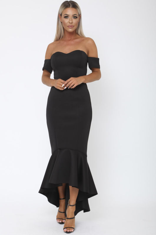 Annie Bardot Midi Fishtail Dress in Black