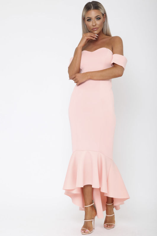 Annie Bardot Midi Fishtail Dress in Pink