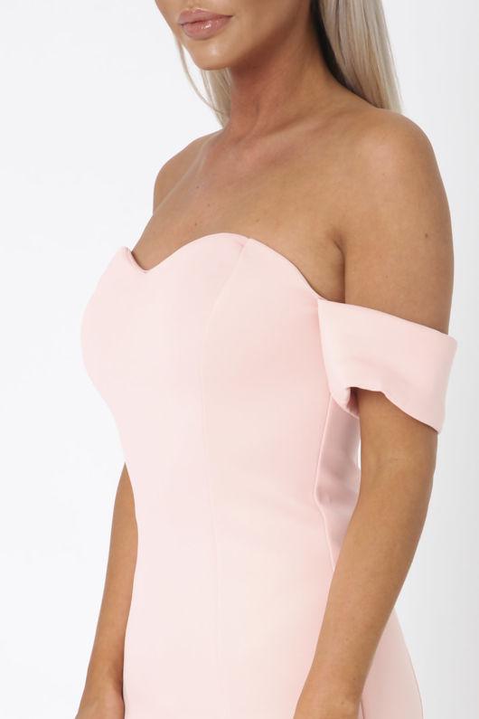 Annie Bardot Midi Fishtail Dress in Pink
