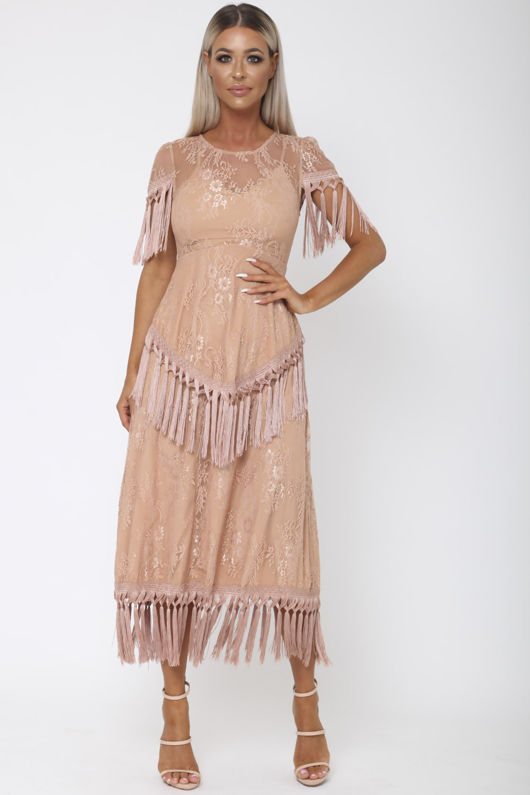 Gozo Lace Midi Tassel Dress in Blush Pink