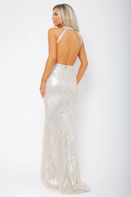 Arianna Long Gown in Silver