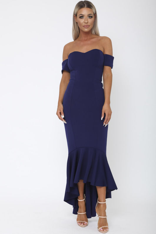 Annie Bardot Midi Fishtail Dress in Navy