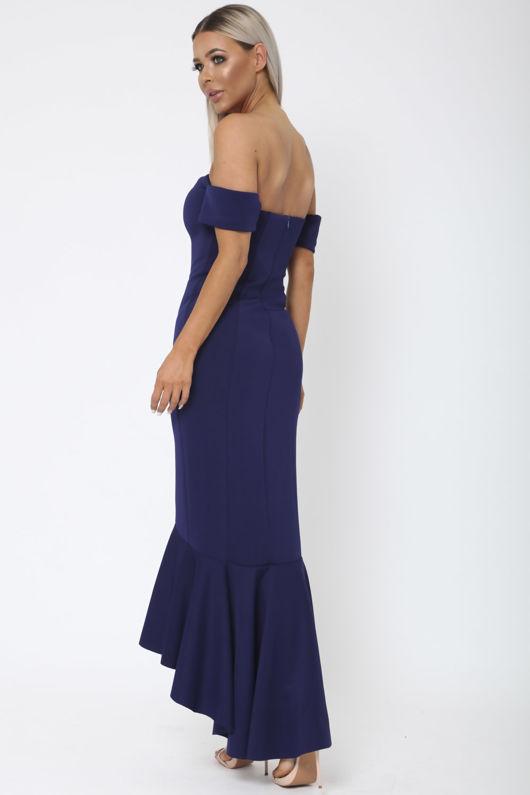 Annie Bardot Midi Fishtail Dress in Navy