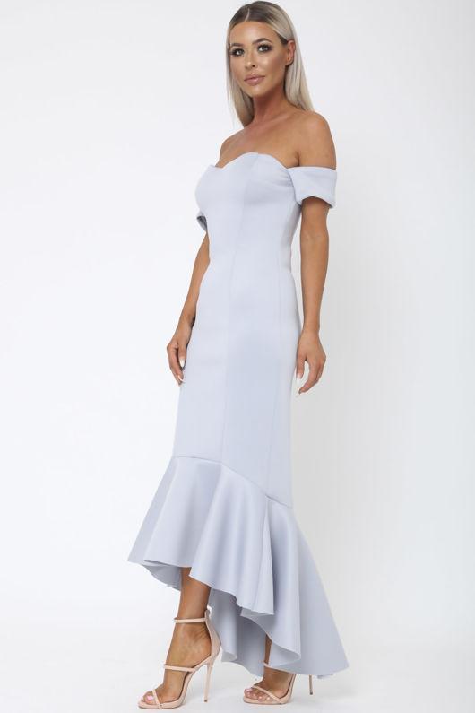 Annie Bardot Midi Fishtail Dress in Grey