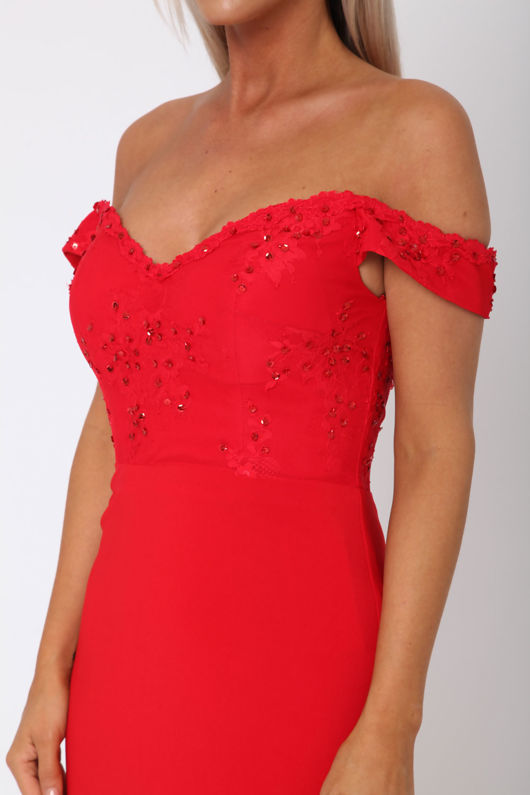 Bardot Lace Train Gown in Red