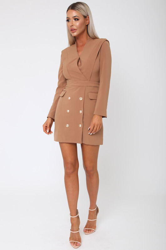 Blair Blazer Dress in Camel