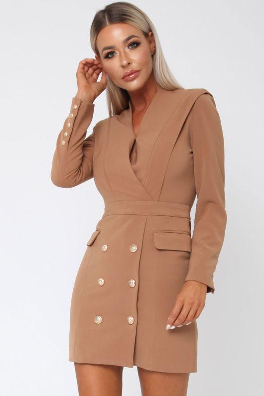 Blair Blazer Dress in Camel