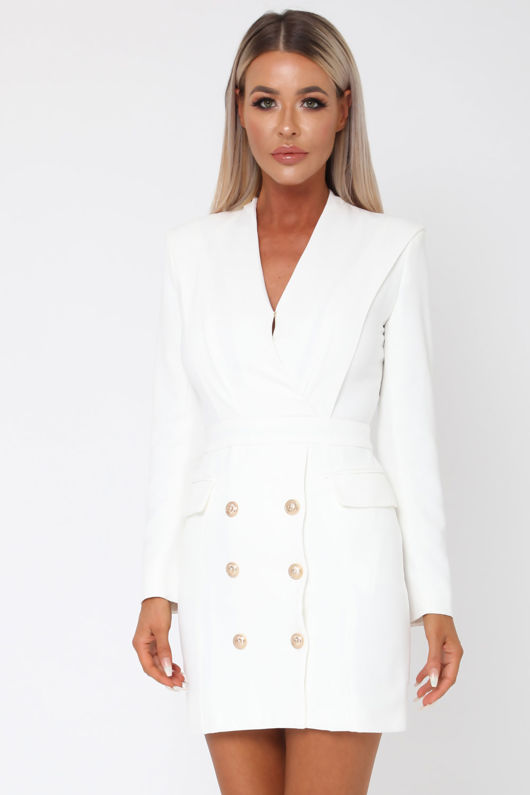 Blair Blazer Dress in Cream