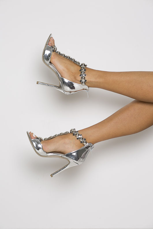 Lucia Studded Patent Leather Sandals in Silver