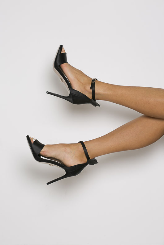 Minnie Sandal in Black Satin
