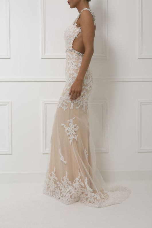 Charlotte Gown in White/Nude