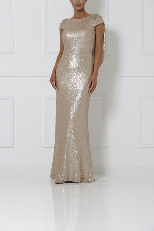 Draped Back Sequin Gown in Rose Gold - Cari\'s Closet