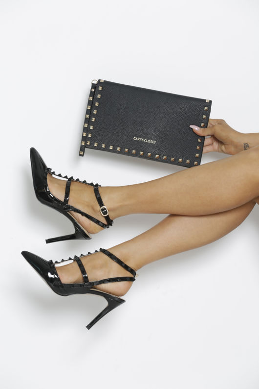 Gift Set - Angelina Studded Heels in Black & Matching Clutch