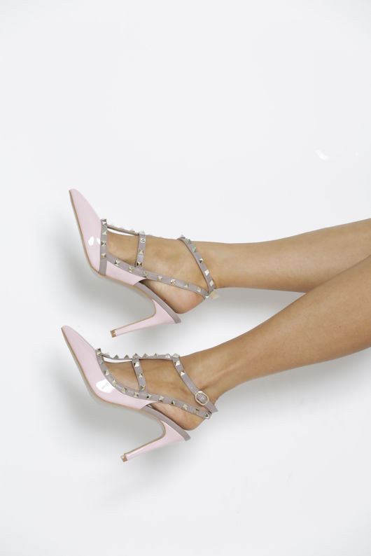 Studded Heels in Pink Patent