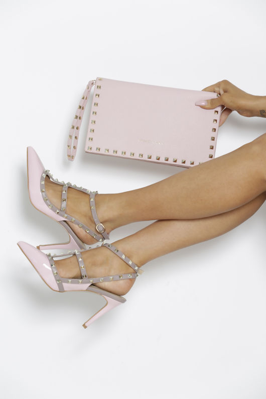 Studded Envelope Clutch Bag in Pink