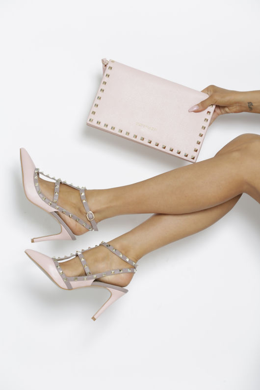 Studded Envelope Clutch Bag in Blush Pink