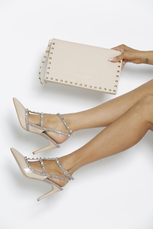 Angelina Studded Heels in Nude Patent