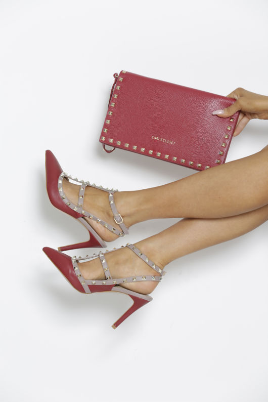 Gift Set - Angelina Studded Heels in Burgundy & Matching Clutch