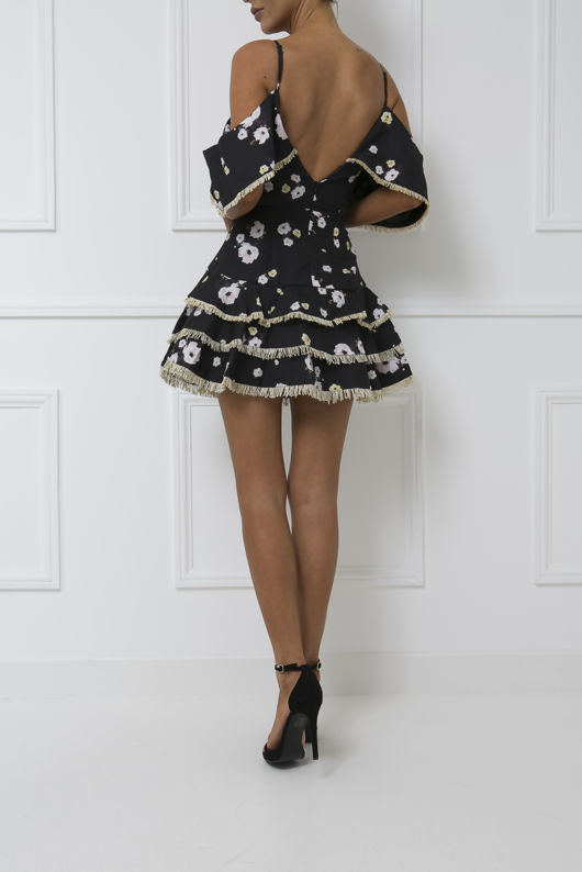 Rio Floral Print Layered Skater Mini Dress in Black