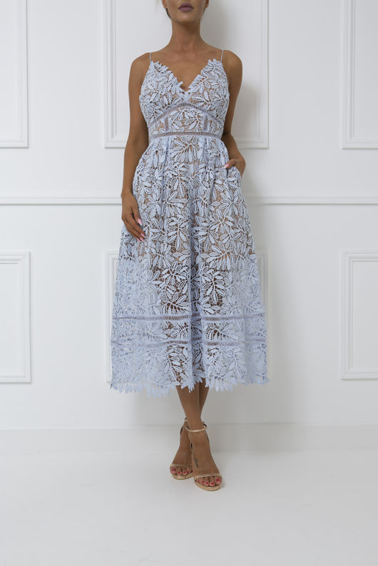 Alex Lace Midi Dress In Blue Cari S Closet