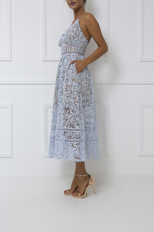 Alex Lace Midi Dress in Blue
