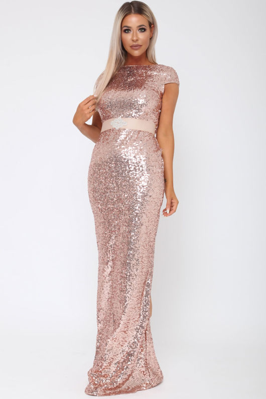 Cowl Back Long Gown in Rose Gold
