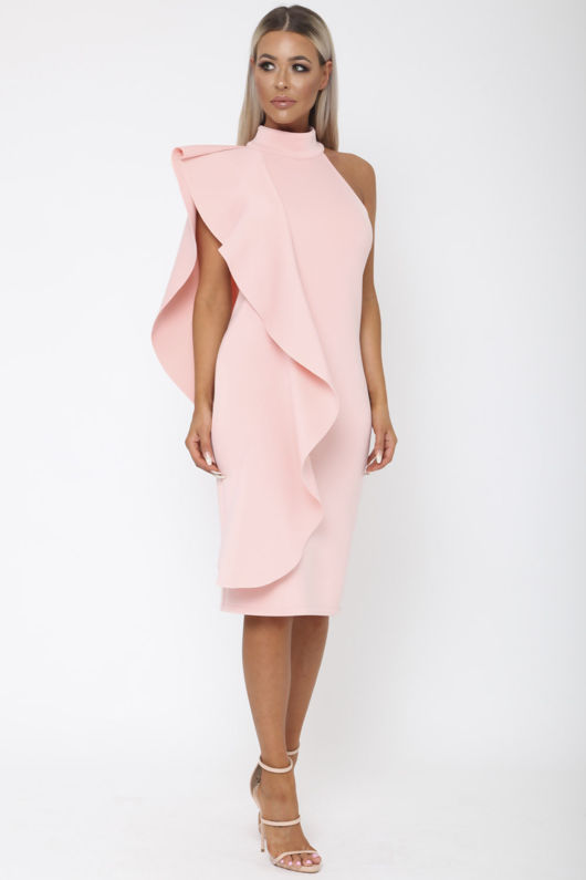 Ferne One Shouldered Cape Midi Bodycon Dress in Pink