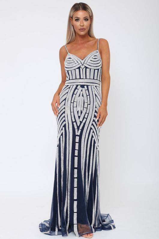 Gatsby Gown in Navy and Silver