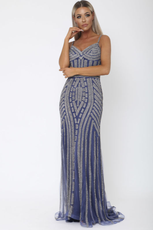 Gatsby Gown in Navy and Charcoal
