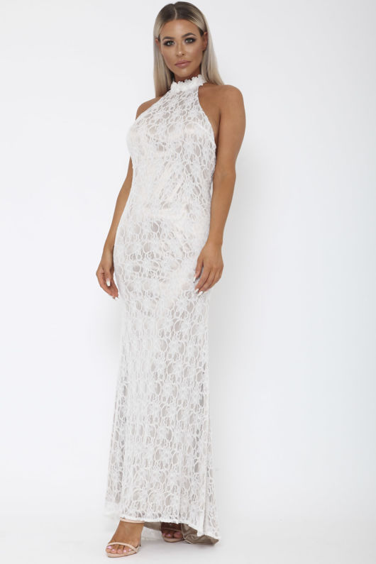 Lace Halter Gown in White