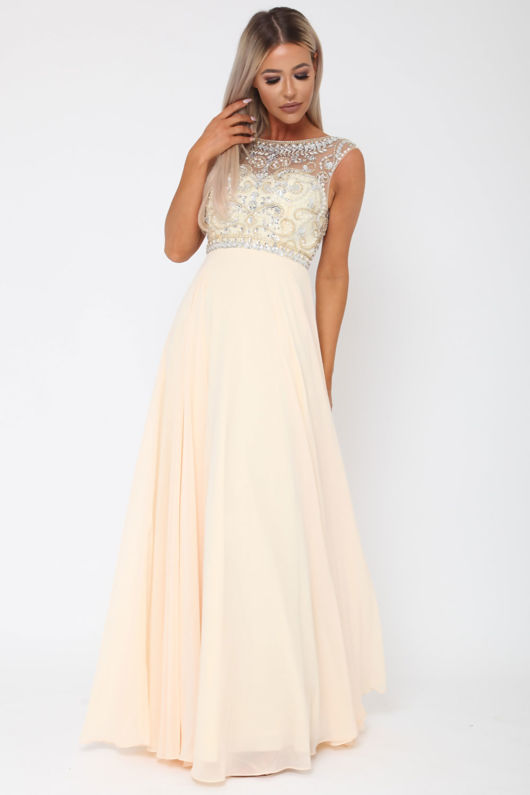 Layla Long Gown in Champagne