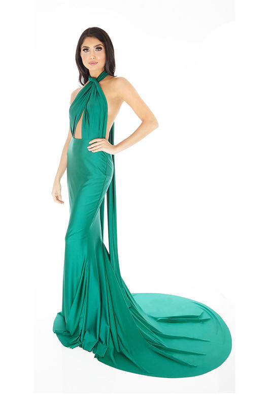 Lilliana Long Gown in Emerald Green