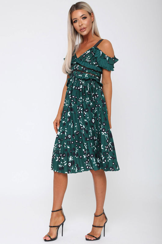 Liv Cold Shoulder Midi Dress in Green
