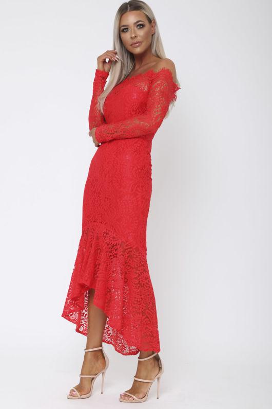 Madina Lace Bardot Fishtail Dress in Red