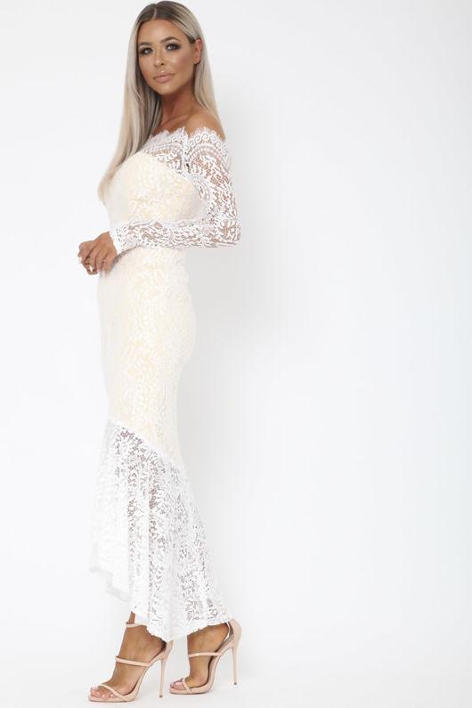 Madina Lace Bardot Fishtail Dress in White