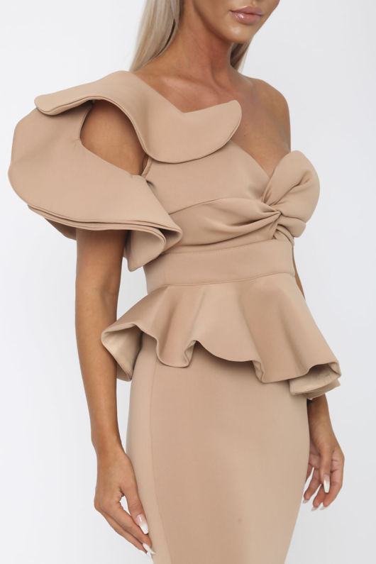 Michelle Bardot Midi Two-Piece in Nude