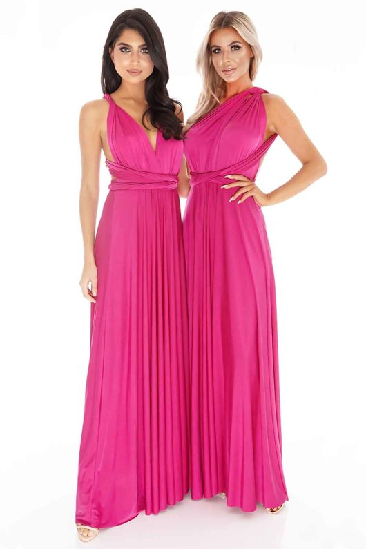Multiway Dress in Dark Magenta